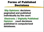 forms of published decisions