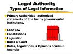 legal authority types of legal information