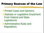 primary sources of the law
