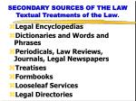 secondary sources of the law textual treatments of the law1
