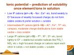 ionic potential prediction of solubility once element ions in solution