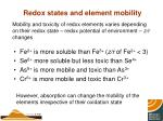 redox states and element mobility
