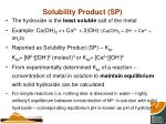 solubility product sp