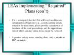 leas implementing required plans con t1