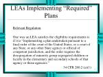 leas implementing required plans