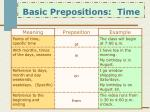 basic prepositions time