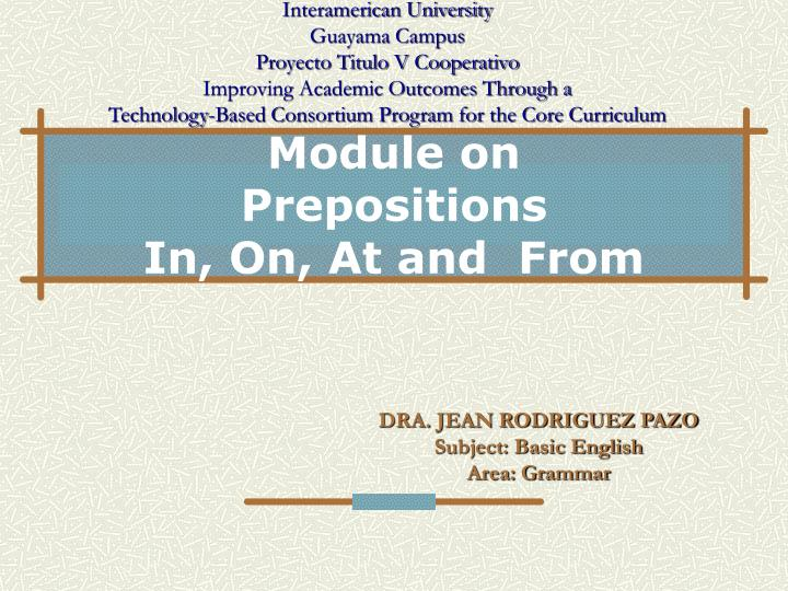 module on prepositions in on at and from n.
