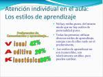 atenci n individual en el aula los estilos de aprendizaje
