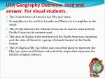 usa geography overview read and answer for visual students