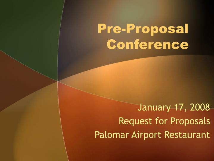 pre proposal conference n.