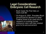 legal considerations embryonic cell research