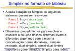 simplex no formato de tableau