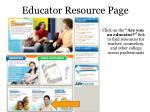 educator resource page