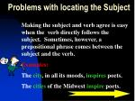 problems with locating the subject