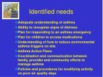 identified needs