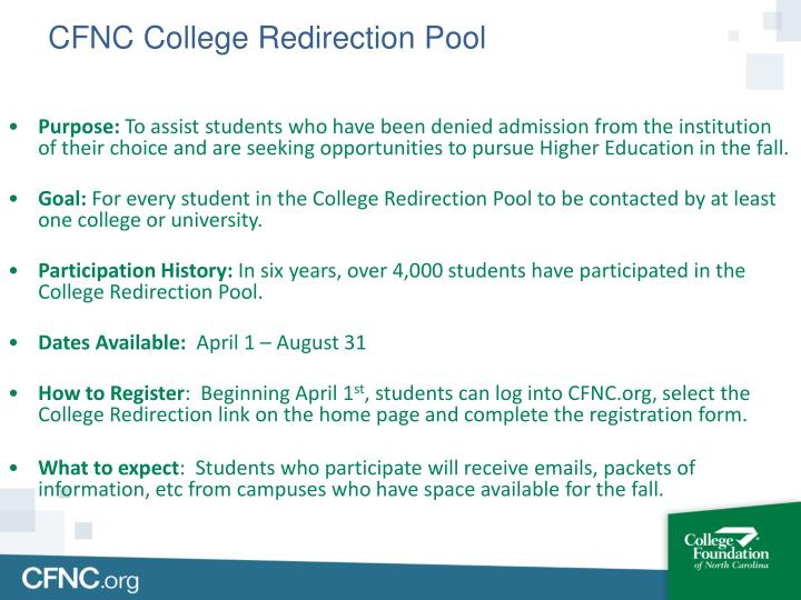 CFNC College Redirection Pool