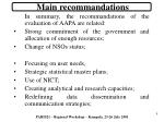 main recommandations