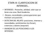 etapa iii clarificacion de intereses