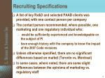 recruiting specifications