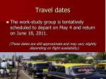 travel dates