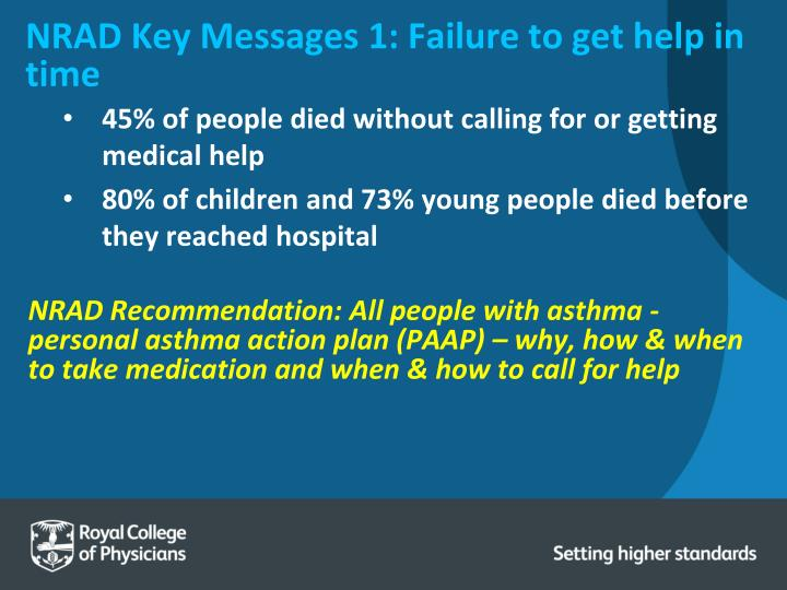 NRAD Key Messages 1: Failure to get help in time