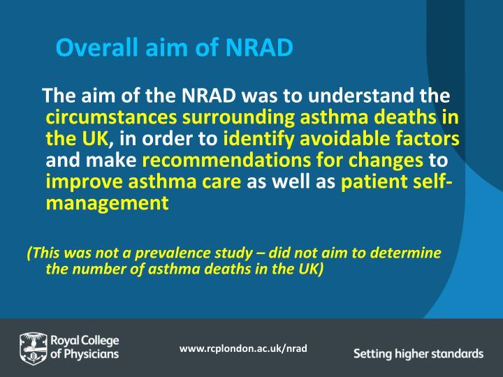 Overall aim of NRAD