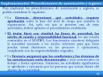 implementaci n procedimientos de autorizaci n y registro