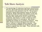 talk show analysis