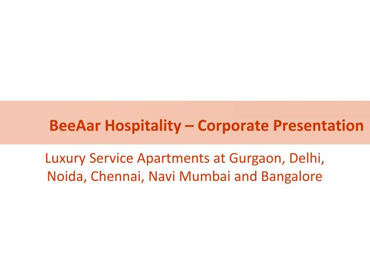 beeaar hospitality corporate presentation n.