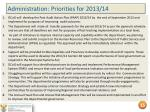 administration priorities for 2013 14