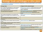 strategic goals and linkages to other plans