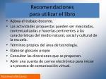 recomendaciones para utilizar el libro