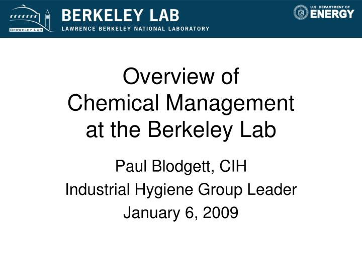overview of chemical management at the berkeley lab n.