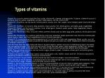 types of vitamins
