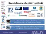 open alliance on service front ends