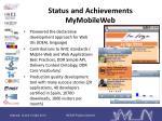 status and achievements mymobileweb