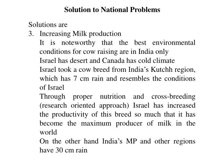 Solution to National Problems