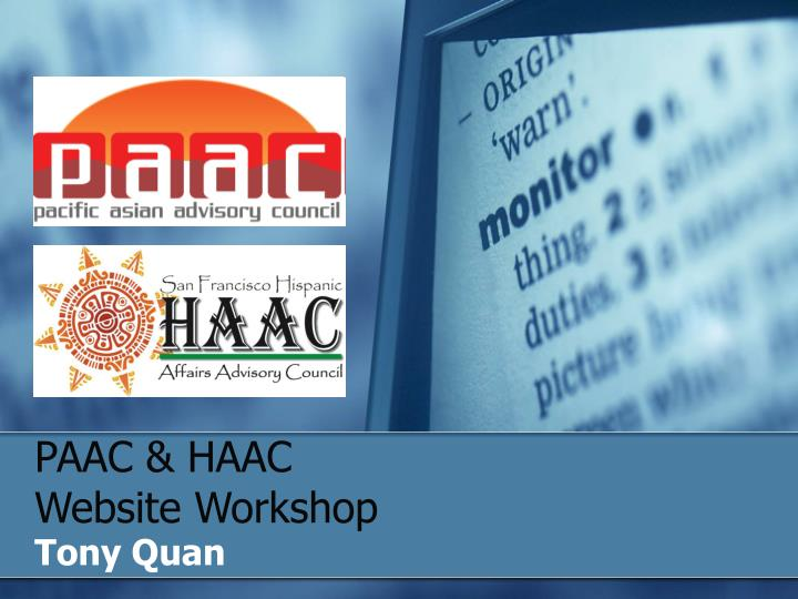 paac haac website workshop n.