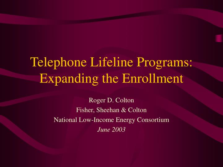 telephone lifeline programs expanding the enrollment n.
