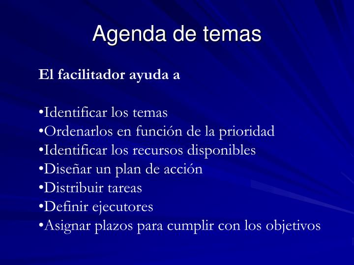 Agenda de temas