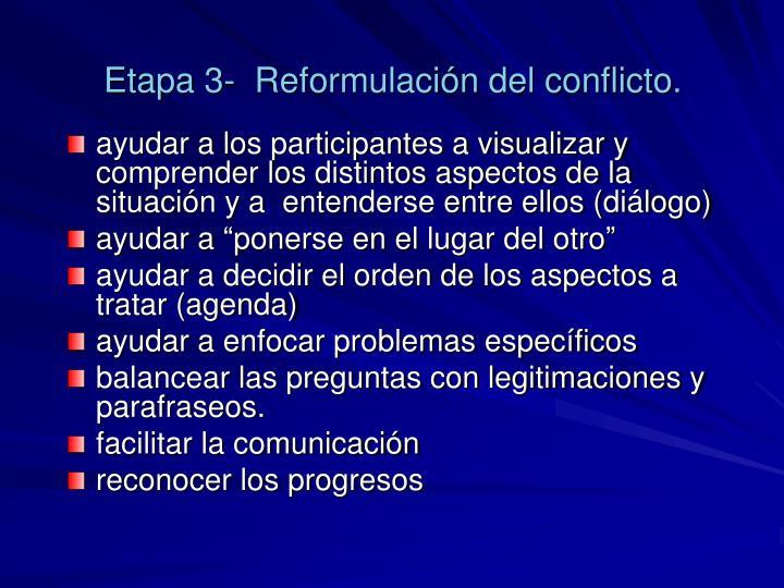 Etapa 3-  Reformulación del conflicto.