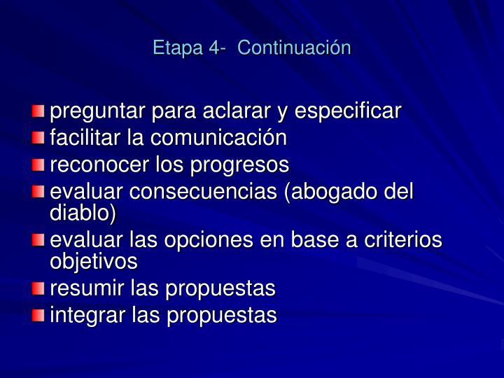 Etapa 4-  Continuación