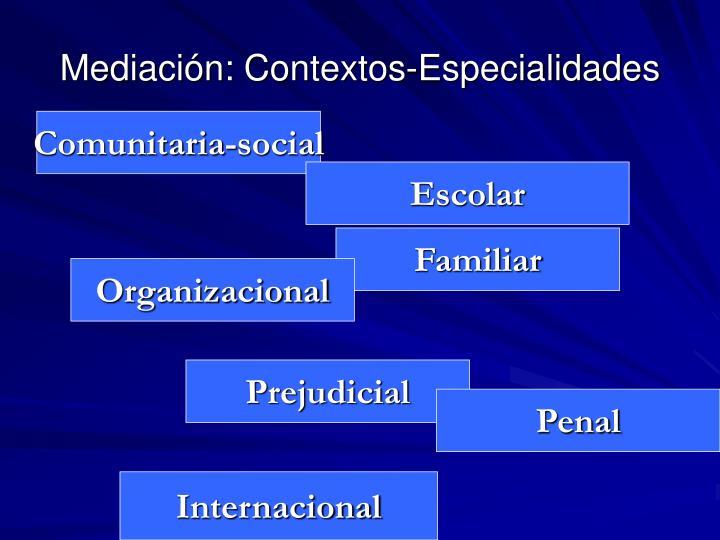 Mediación: Contextos-Especialidades