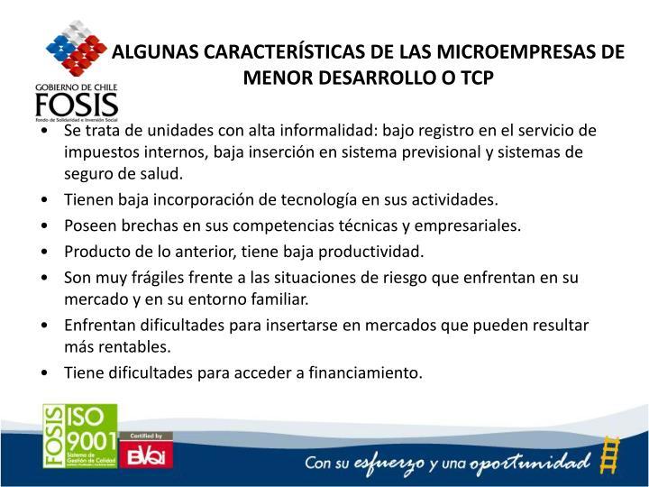 ALGUNAS CARACTERÍSTICAS DE LAS MICROEMPRESAS DE MENOR DESARROLLO O TCP
