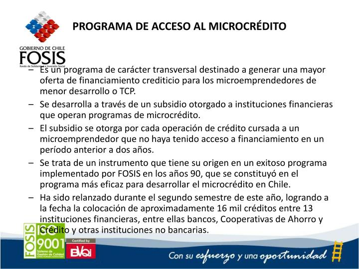 PROGRAMA DE ACCESO AL MICROCRÉDITO