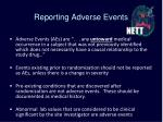 reporting adverse events