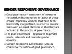 gender responsive governance