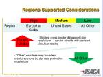 regions supported considerations