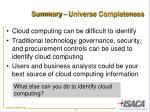 summary universe completeness