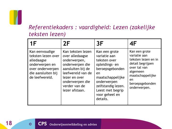 Referentiekaders : vaardigheid: Lezen (zakelijke teksten lezen)